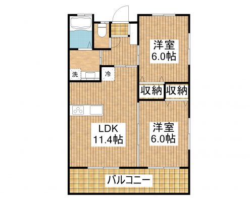 T様新築共同住宅 202 間取り図