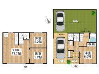 賃貸 ガレージ付きテラスハウス(ペット飼育可) 2階 間取り図