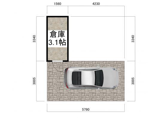 メゾンロワーレ大川 西棟 倉庫付き屋内駐車場 間取り図