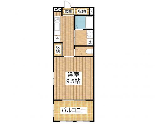 川平マンション 1D 間取り図